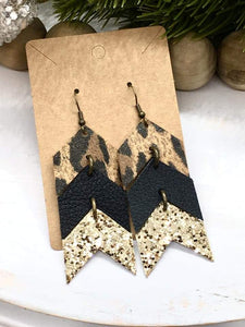 Animal Print Genuine Leather and Glitter Canvas Chevron Arrow Earrings