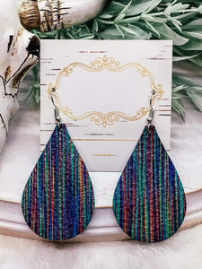 Serape Genuine Leather Teardrop Earrings