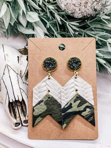 Fishtail Braided Italian Genuine Leather Chevron Arrow Earrings in Camo & Cream