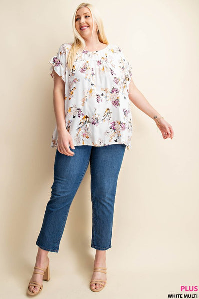 Ruffle Drop Shoulder Floral Top in White