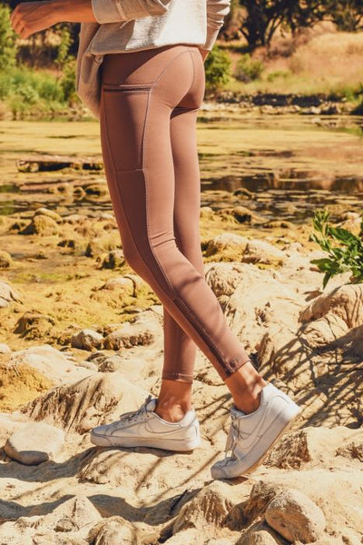 High Waist Side Mesh Leggings in Walnut