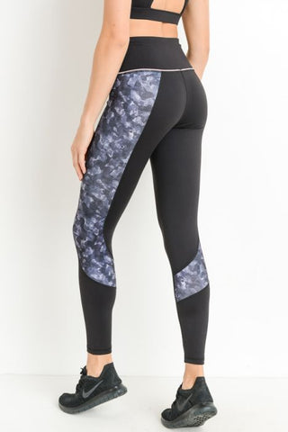 High Waist Camo Block Print Leggings in Black