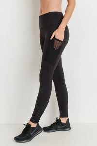 High Waist Origami Mesh Leggings in Black