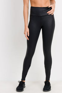 Highwaist Foil Mesh Leggings in Black