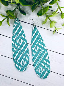 Herringbone Print Genuine Leather Long Teardrop Earrings in Mint