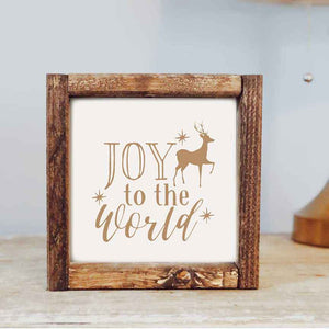 Joy to the World Framed Wooden Sign