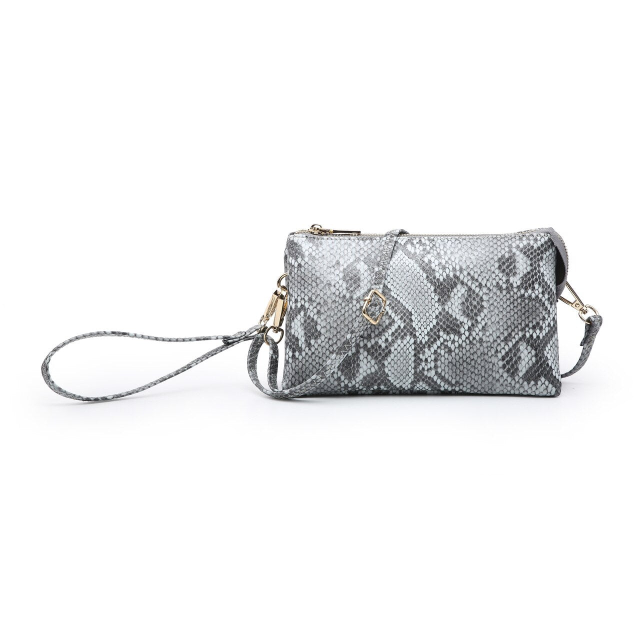 Python Compartment Wristlet/Crossbody in Gray