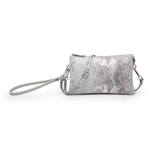 Python Compartment Wristlet/Crossbody in Metallic Pink