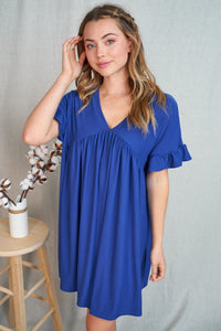 Babydoll Ruffle Keyhole Knit Dress in Royal Blue