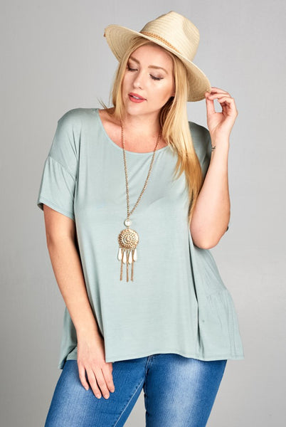 Casual Short Sleeve Ruched Hem Top in Sage