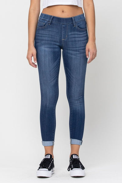 Mid Rise Pull On Crop Skinny Jeans with Rolled Hem in Dark Denim