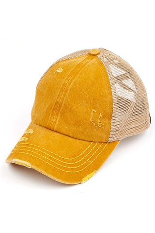 Distressed Criss Cross High Ponytail Ball Cap in Mustard