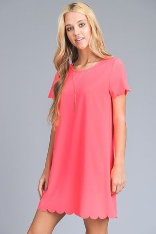 Scalloped Dress in Neon Pink