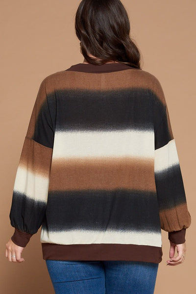 Striped French Terry Dolman Top in Brown