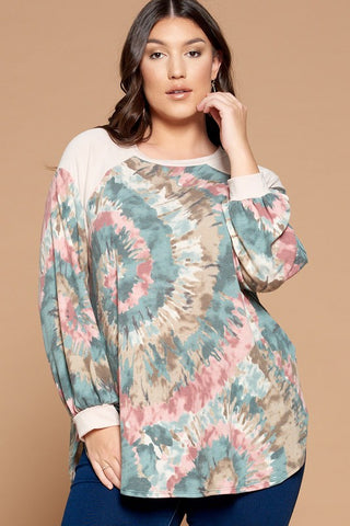 Tie Dye French Terry Tunic Top in Teal