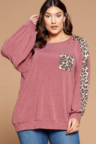 French Terry Pullover Animal Print Contrast Top in Burgundy