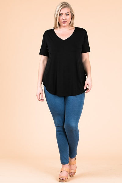 V-Neck Basic Top in Black