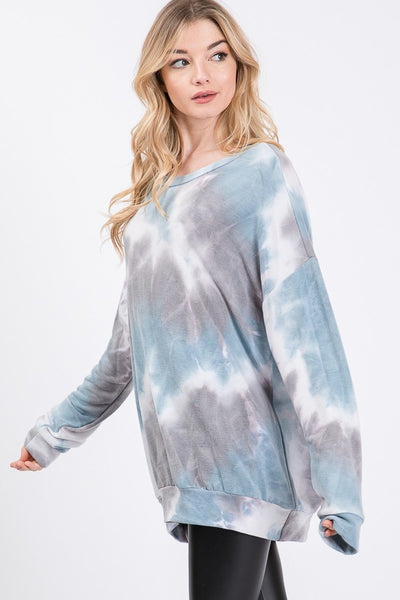 Tie-Dye Long Sleeve Top in Blue
