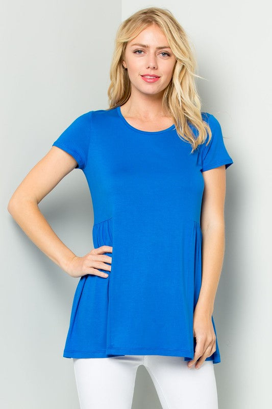 Side Shirred Top in Royal Blue