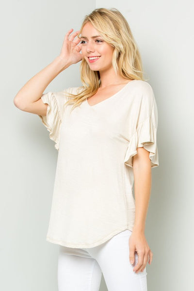 Ruffle V-Neck Top in Natural