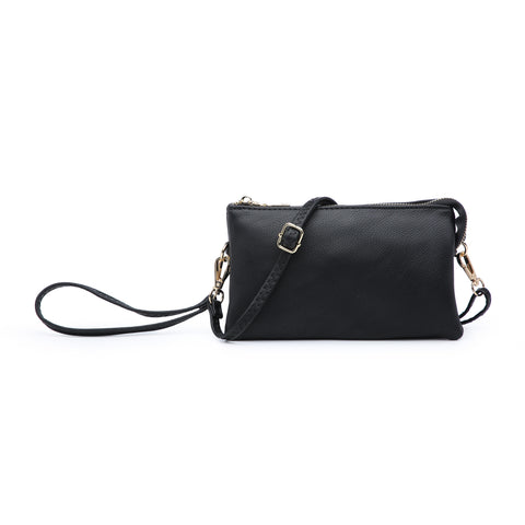 Multi-compartment Wristlet Crossbody in Black
