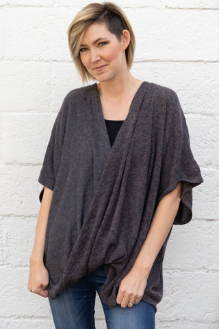 Oversized Surplice Wrap Top in Charcoal