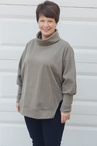 Turtle Neck Dolman Top in Olive