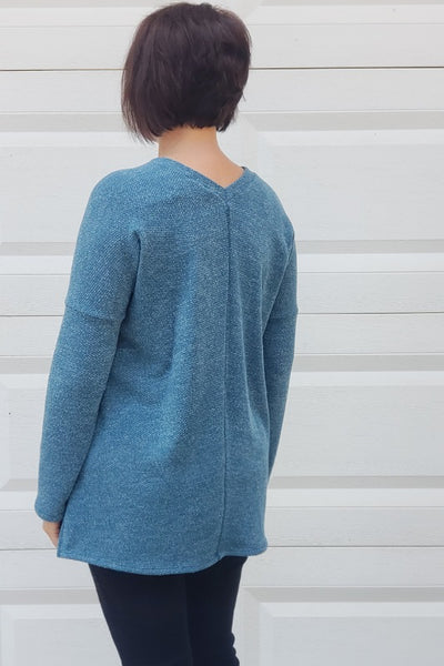 V-Neck Long Sleeve Knit Sweater in Teal