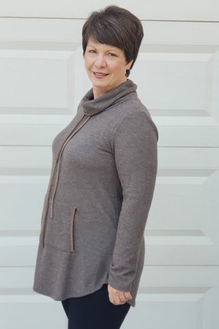 Cowlneck Brushed Sweater in Taupe