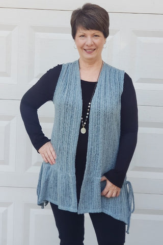 Ruffle Sweater Vest in Teal
