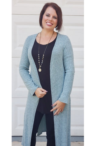 Two Tone Ribbed Hacci Brushed Long Cardigan in Ice Blue