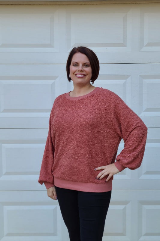 Poodle Knit Long Sleeve Contrast Top in Mauve