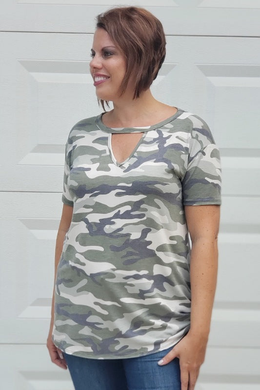 Vintage Camo Keyhole Top in Olive
