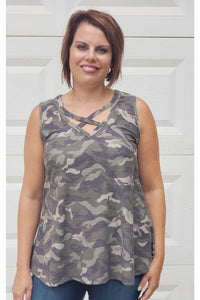 Camo Criss-Cross Sleeveless Top in Olive