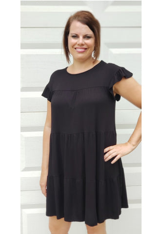 Tiered Ruffle Dress in Black