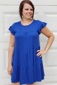 Tiered Ruffle Dress in Cobalt Blue