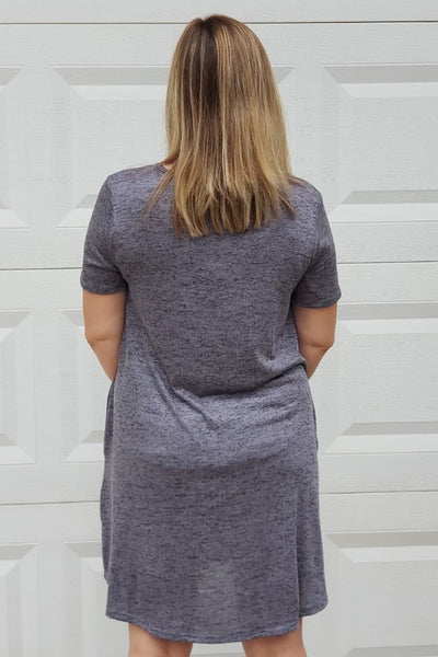 Marled Knit Round Neck Dress in Charcoal