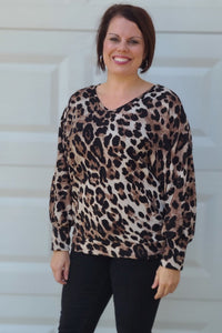 Animal Print V-Neck Long Sleeve Top in Brown