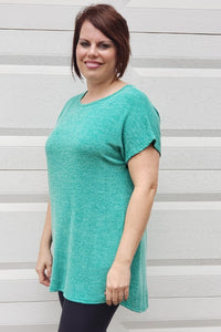 Short Sleeve Back Button Detail Tunic Top in Green