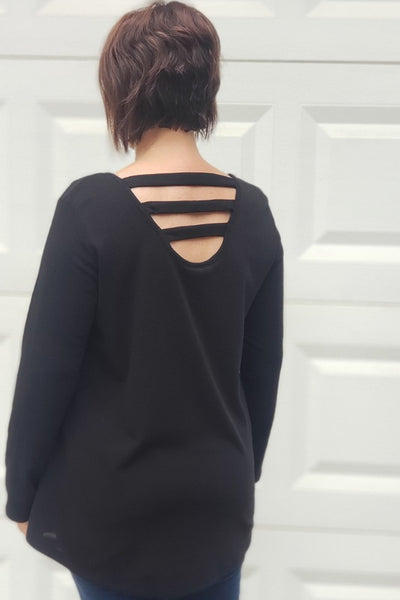 French Terry Open Back Tunic Top in Black
