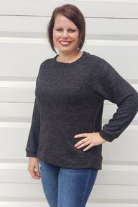 Macaroon High Low Tunic Top in Charcoal