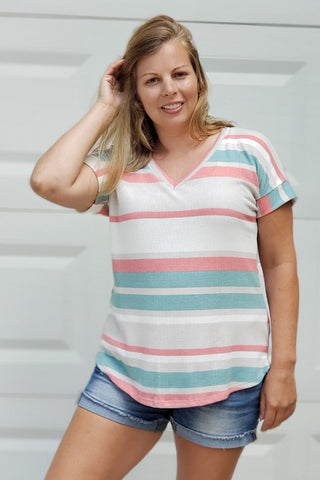 Striped Short Sleeve Waffle Knit Top in Taupe & Coral