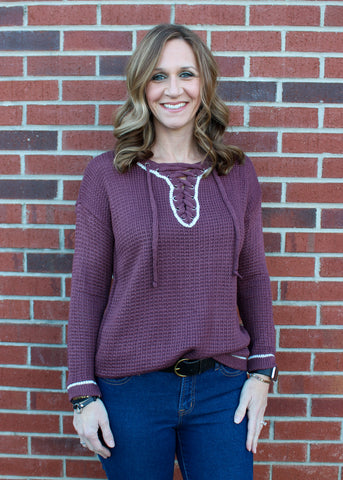 Lace Up Knit Sweater in Maroon