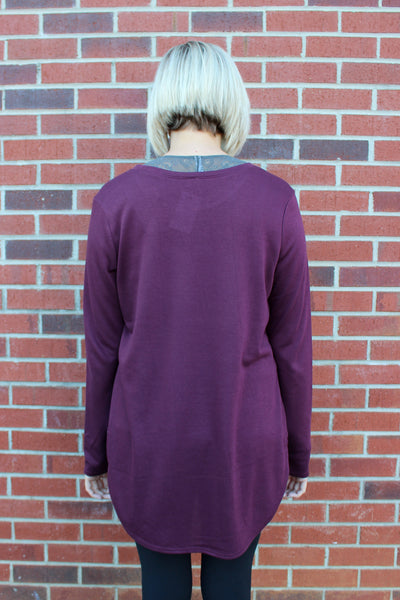 Long Sleeve Side Slit Flow Top in Burgundy