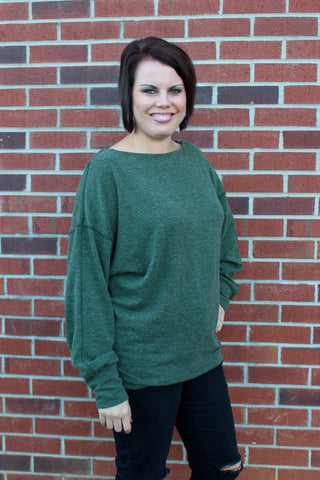 Wide Boat Neck Textured Knit Top in Forest Green