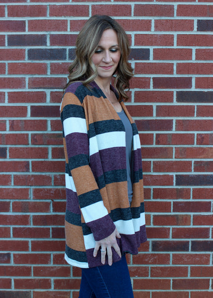 Striped Multicolor Knit Cardigan in Camel & Plum