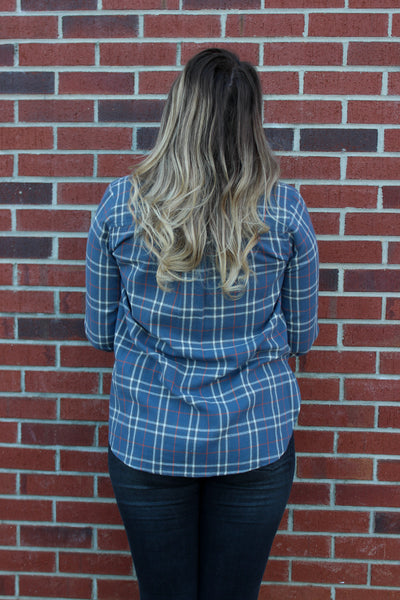 Plaid Print Woven Button Down Shirt in Navy