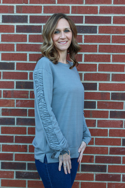 String Sleeve Sweatshirt in Charcoal