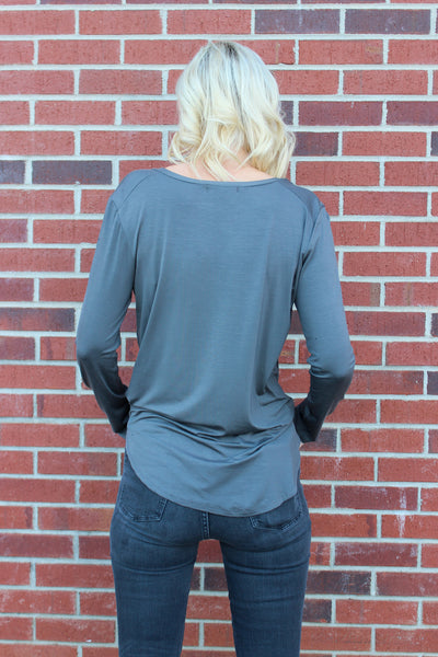 Long Sleeve Basic Top in Dark Gray