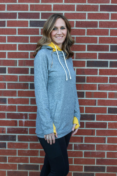 Double Hood Sweatshirt in Heather Gray & Mustard